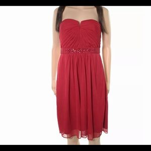 New Adrianna Papell red embellish strapless dress.